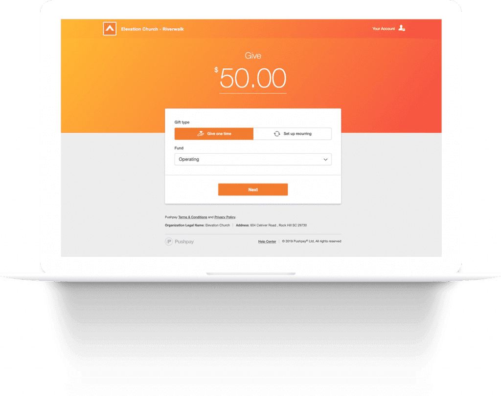 Give online to Elevation Church through PushPay